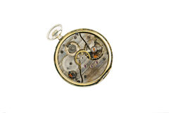 Clockwork details, pinions and wheels macro closeup isolated on white Royalty Free Stock Images