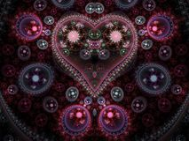 Clockwork fractal heart. Digital artwork for creative graphic design vector illustration