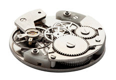 Clockwork with gears and cogwheels isolated on white Stock Photo