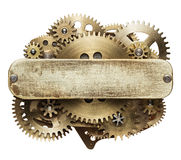 Clockwork gears collage. Metal collage of clockwork gears with empty plate Stock Image