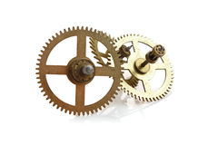 Clockwork gears isolated on white Royalty Free Stock Photos