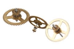 Clockwork gears isolated. On white background stock photography