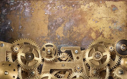 Clockwork gears. Mechanical collage made of clockwork gears Stock Images