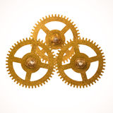 Clockwork gears. Three clockwork gears isolated on white background Stock Images