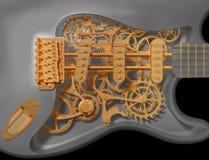 Clockwork guitar. Detail of an original custom clockwork guitar vector illustration