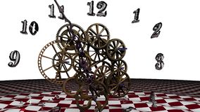 The clockwork has stopped and time is going back. 3D rendering.