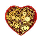 Clockwork heart gold. 3D render of heart cross section showing gears inside Royalty Free Stock Photos