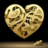 Clockwork Heart. Raster version of vector image of gold clockwork heart on the black background with a pinion (contain the Clipping Path). There is in addition Stock Images