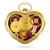 Clockwork heart-shaped clock. Stock Photo