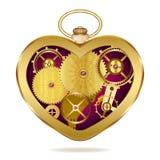 Clockwork heart-shaped clock. Stock Photo
