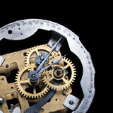 Clockwork isolated on black Royalty Free Stock Images