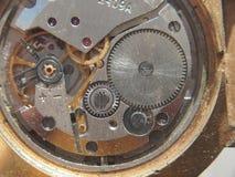 clockwork Les vitesses, les ressorts et d'autres pièces de la montre sont visib photo stock