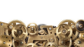 Clockwork. Mechanical collage made of clockwork gears on white background Royalty Free Stock Photos