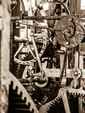 Clockwork mechanism. Close up view of cog wheels and other mechanical parts of vintage tower clock royalty free stock photography
