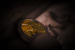 Clockwork Mechanism of Old Pocket Watch Royalty Free Stock Photo