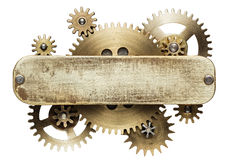 Clockwork. Metal collage of clockwork gears isolated on white background Stock Image