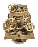 Clockwork. Metal collage of clockwork gears isolated on white background Stock Photos