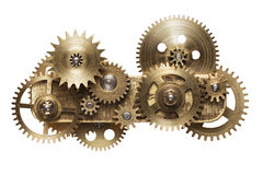 Clockwork. Metal collage of clockwork gears isolated on white background royalty free stock photos