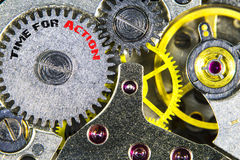 Clockwork old mechanical  high resolution  with words Time for A Stock Photography
