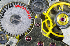 Clockwork old mechanical  high resolution with words Time for Qu Stock Photos