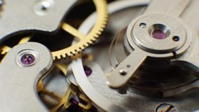 Clockwork old mechanical watch. Time or work concept stock footage