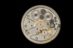 Clockwork of an old Soviet Union watch Stock Photography