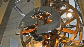 Clockwork of an old tower clock with huge gears stock video
