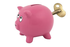 Clockwork piggy bank Stock Photos