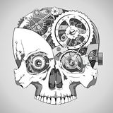 Clockwork skull. Human skull with clockwork mechanism inside, vector Royalty Free Stock Image