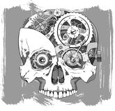 Clockwork skull illustration Royalty Free Stock Photo