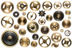 Clockwork. Spare parts. Metal gear, cogwheels and other details stock photography