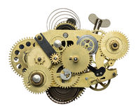 Clockwork. Stylized metal collage of clockwork stock photos