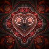 Clockwork valentine`s day motive, fractal heart Royalty Free Stock Photos