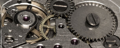 Clockwork vintage mechanical  watches Royalty Free Stock Photos