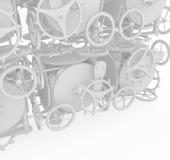 Clockwork Wall, White. Clockwork gear mechanism 3d illustration, white Royalty Free Stock Photo