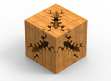 Clockwork wooden cube. 3D rendered illustration of an abstract clockwork wooden cube. The object is  on a white background with shadows Stock Image