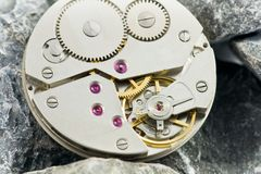 Clockworks with gears Royalty Free Stock Image