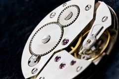 Clockworks with gears Royalty Free Stock Photos