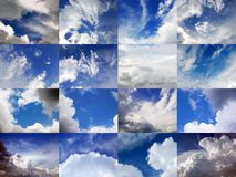 Clods and skies 2. Clouds and Skies mosaic, 16 pictures, 48 mega-pixels Royalty Free Stock Image
