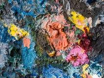Clodseup abstrai o fundo e a textura da cor de óleo no paette Imagem de Stock Royalty Free
