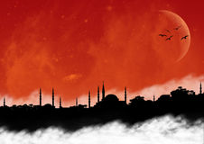 Clody Oriental Cityscape. Istanbul cityscape from a cloudy night Royalty Free Stock Photo