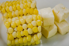 Cloeeup above angle of two halfs corn lying on Stock Image