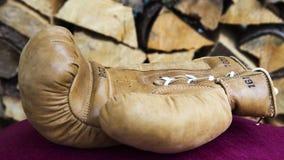 Cloesup de gant de boxe devant le bois de chauffage Photographie stock libre de droits