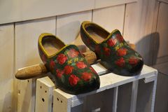 Dutch clogs. Clog factory, Zaanse Saans, Netherlands. Dutch traditional craft Royalty Free Stock Photo