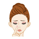 Clogged Nose Pore -Skincare Trouble Royalty Free Stock Image