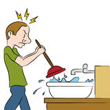Clogged Sink. An image of a man using a plunger on clogged sink stock illustration