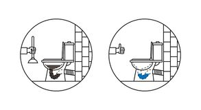 Clogged toilet bowl vector illustration Stock Photography
