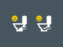 Clogged and unclogged toilet symbol Royalty Free Stock Photo