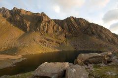 Clogwyn Du'r Arddu. The buttresses of the mountain crags Clogwyn Du'r Arddu in the evening light, Snowdonia National park, Wales, UK Stock Photo