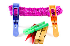 Clohtesline with Clothespins Stock Image